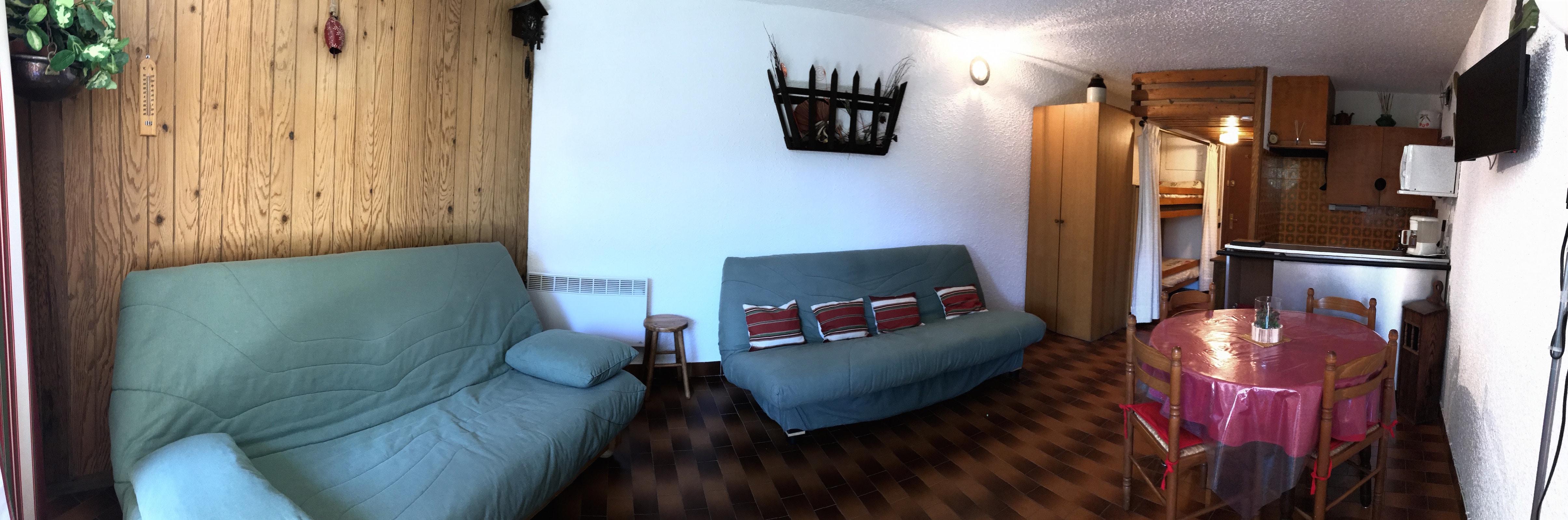 salon cuisine 2 ca - ANCELLE Studio montagne 28 m2 avec balcon