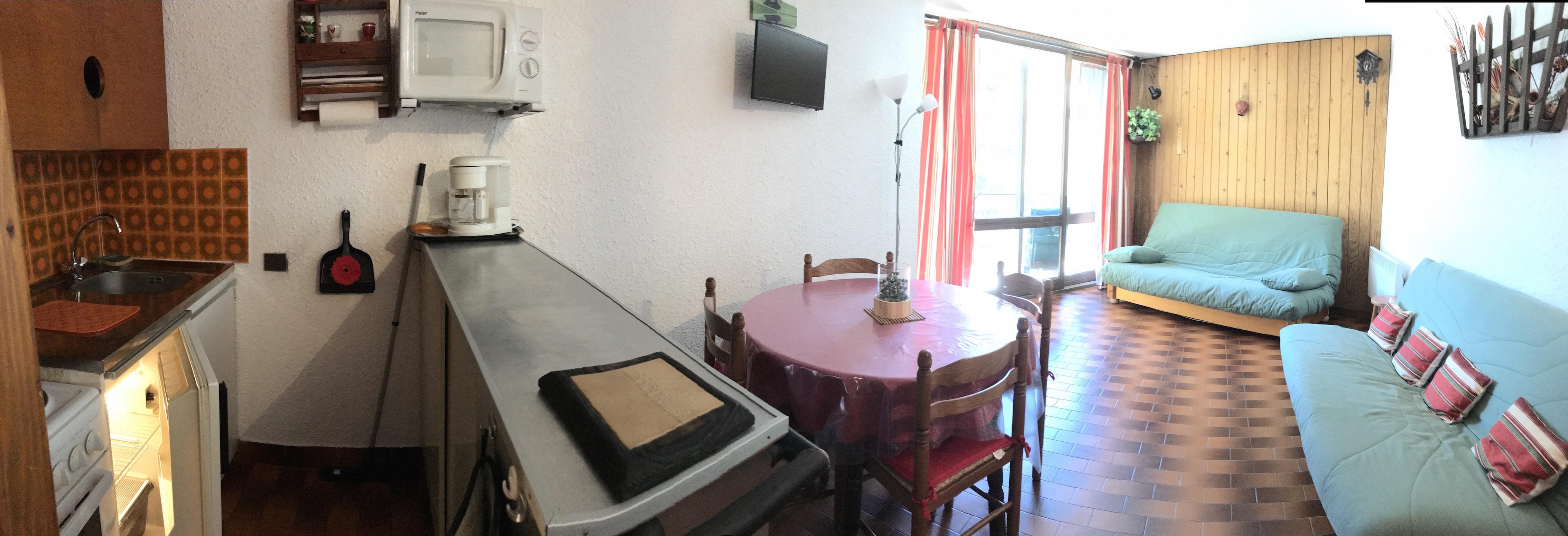 salon cuisine3 - ANCELLE Studio montagne 28 m2 avec balcon