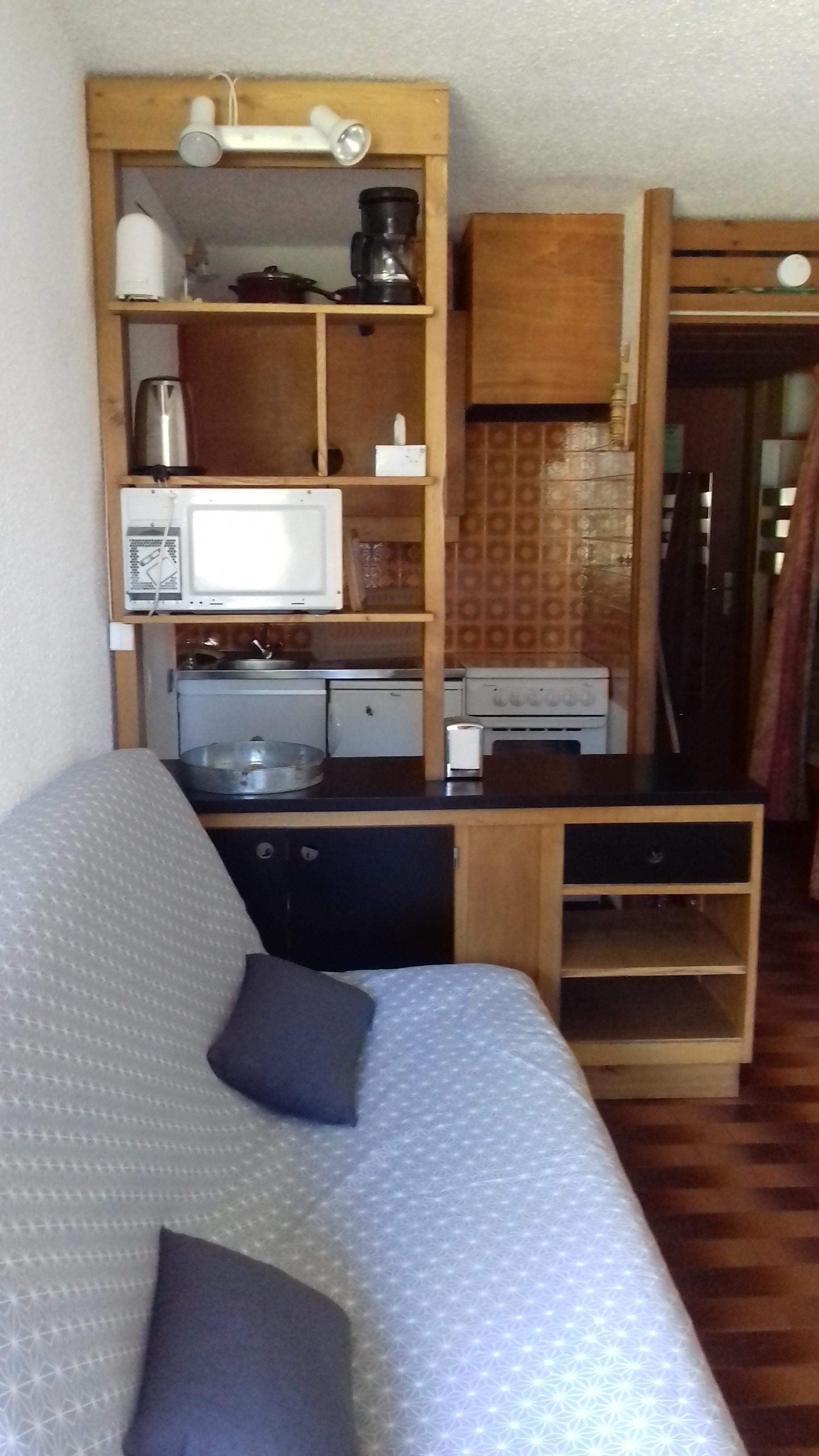 loiseau coin cuisine salon - ANCELLE STUDIO MONTAGNE 28 m2 (4/6 couchages)